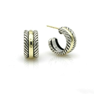 David Yurman Cable Collectibles Small Hoop Earrings in Sterling Silver 14k Gold