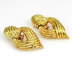 Henry Dunay Retro Statement Earrings in 18k Yellow Gold Clip-On
