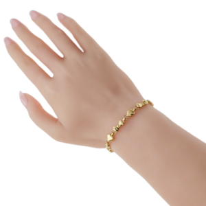 """Auth TIFFANY & CO, 18K Yellow Gold Heart and Bow Tie Bracelet Size 6.5"""""""