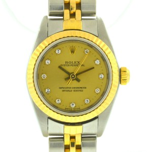Rolex 76193 Oyster Perpetual Two Tone Champagne Diamond Dial Ladies Watch