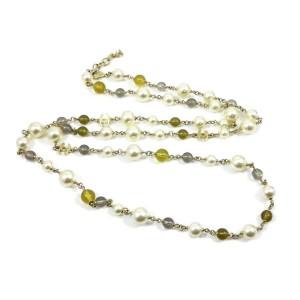 CHANEL Gold-tone Fake Pearls Logo Coco Mark '16 Necklace