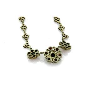 Antique Bohemian Garnet Base Metal Floral Drape Necklace