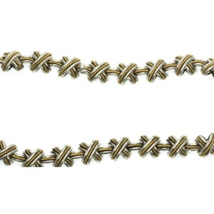 """Tiffany & Co 925 Silver 18k Yellow Gold Signature X Crossover Link Necklace 16"""""""