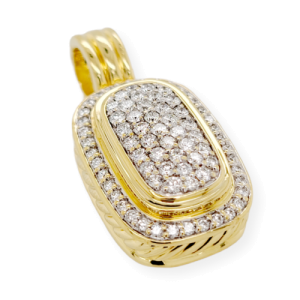 "David Yurman 18k Yellow Gold Pave 1.90 CT Diamond 1.40"" Height Albion Pendant"