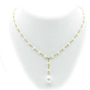 Tiffany & Co. 18k Yellow Gold Pearl Pendant Toggle Clasp Necklace