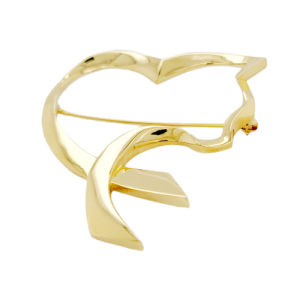 Auth Tiffany & Co 18K Yellow Gold  Paloma Picasso Open Cat Heart PIN / Brooch