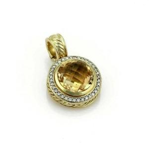 David Yurman Albion Citrine & Diamond 18k Yellow Gold Round Pendant