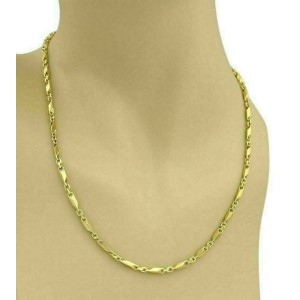 Solid 24k Gold Fancy Long Bar Oval Link Chain Necklace