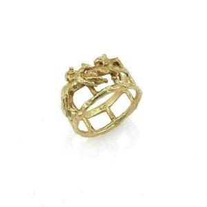 Lisa Perry 14k Yellow Gold Jockey & Horse Wide Band Ring