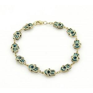 Good Luck Hamsa Hand Turquoise Enamel Multi Link 14k Yellow Gold Bracelet