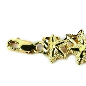 All Around Star Fish 14k Yellow Gold Cut Design Link Bracelet