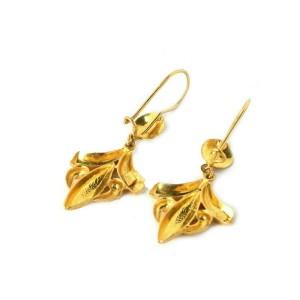 Vintage 21k Gold Diamond Cut Design Floral Drop Dangle Earrings