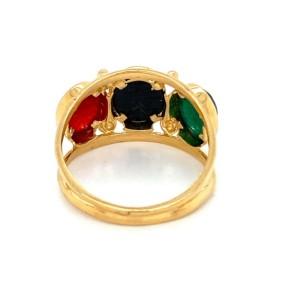 Cabochon Carnelian Green & Black Onyx Scarab Beetle 3 Stone Ring
