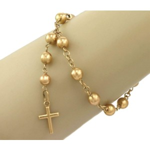 Vintage 18k Yellow Gold 7mm Bead Link Bracelet & Cross Dangle Charm