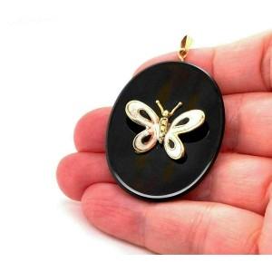 Onyx Enamel Butterfly 14k Yellow Gold Oval Pendant