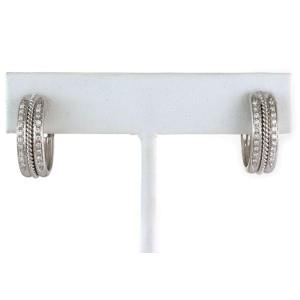 Diamond Fancy Oval 18k White Gold Hoop Earrings