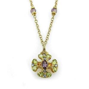 Amethyst Peridot & Citrine 14k Yellow Gold Cross Pendant Necklace