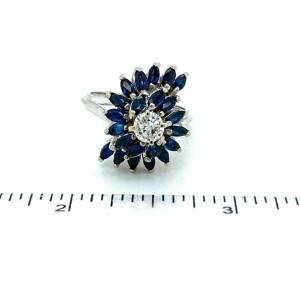 Diamond & Sapphire Swirl Design 14k White Gold Ring