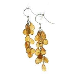 Multi-Bead Citrine Gemstones 18k White Gold Long Dangle Earrings