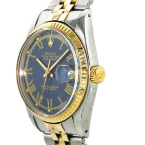 Rolex Datejust 1601 Mens Automatic Watch Blue Dial 18k Two Tone 36mm