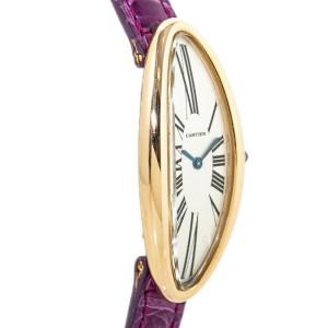 Cartier Baignoire Allonge 2606 Oval 18K Rose Gold Silver Dial Lady's Quartz Watc
