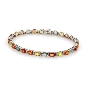 Diamonds & 11.73ct Multi-Color Sapphires 14k Gold Tennis Bracelet