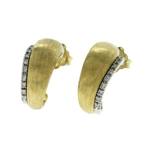 Marco Bicego Lucia Collection 18K Yellow Gold and Diamond Small Hoop Earrings