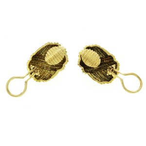 Authentic Tiffany & Co,18K Yellow Gold Ribbed Ribbon Earrings
