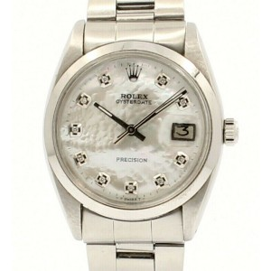 ROLEX OysterDate Precision 6694 Stainless Steel White MOP Dial Diamond Watch