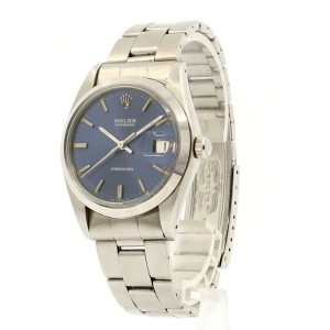 ROLEX OysterDate Precision 6694 Stainless Steel Shiny BLUE Dial Watch