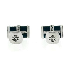 David Yurman DY Black Cable Sterling Silver Leather Cufflinks