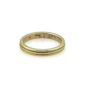 Cartier 18k Tri-Color Gold 3mm Wide Stack Band Ring Size 52