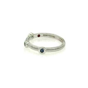 Roberto Coin Bezel Set Sapphire 18k White Gold Band Ring