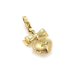 Louis Vuitton Heart & Bow Locket 18k Yellow Gold Charm Pendant