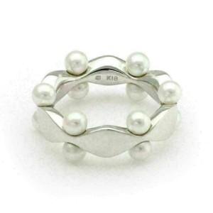 Mikimoto Akoya Pearls 18k White Gold Fancy Band Ring Size 4