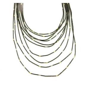 Gurhan Darkened Sterling Silver 24k Gold Graduated Tube Link Drape Necklace