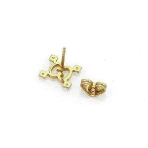 Gucci Logo Pink Sapphire 18k Rose Gold Stud Earrings