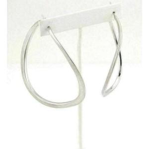 Jumbo Wave Style Textured 14k White Gold Hoop Earrings