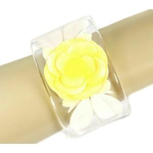 Chanel Flower Wide Clear Lucite Cuff Bracelet