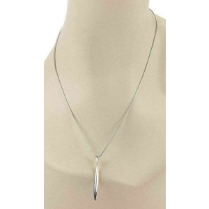Tiffany & Co. 18k White Gold Feather Pendant Snake Chain Necklace