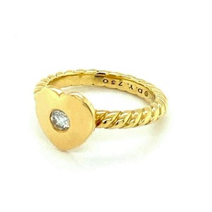 David Yurman Diamond 18k Yellow Gold Heart Cable Ring