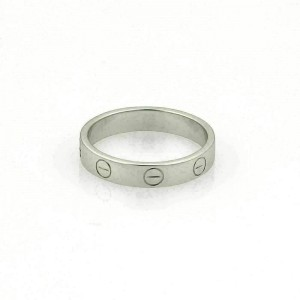Cartier Mini Love 18k White Gold 3.6mm Wide Band Ring Size 51