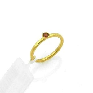 Gurhan Skittle 24k Gold & Spessartite Hammered Ring Size 5