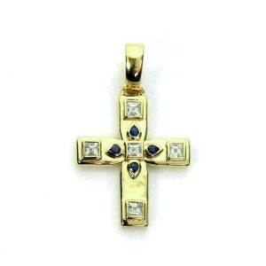 Cartier Vizantija Diamond & Sapphire 18k Yellow Gold Cross Pendant