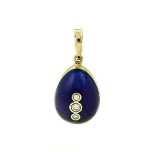 Faberge Diamond & Cobalt Blue Enamel Egg Shape Charm Pendant