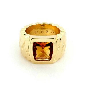 Cartier La Dona Citrine 18k Yellow Gold Band Ring Size 51 w/Paper