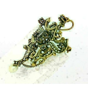 Vintage Amethyst & Seed Pearls 14k Yellow Gold Fancy Design Pendant/Pin