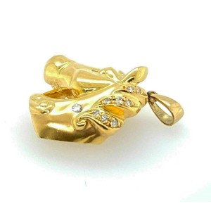 Diamond 18k Yellow Gold 3D Horse Head Pendant