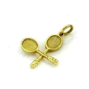 Tiffany & Co. Diamond 18k Two Tone Gold Tennis Racket & Ball Charm Pendant