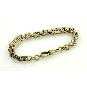 Antique 9k Rose Gold Fancy Design Engraved Bracelet